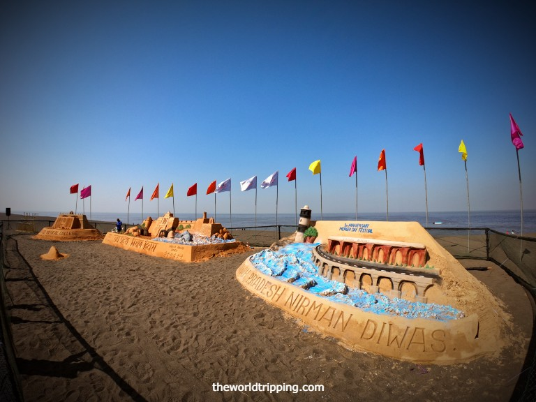 Sand Art on the occasion of Nirman Diwas 2021 at Moti Daman Beach